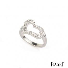 Piaget 18k White Gold Diamond Set Heart Ring B&P G34L7454